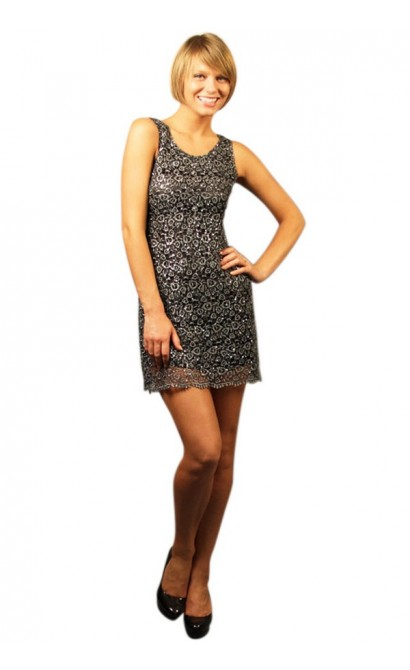 Glitzy Web Textured Overlay Dress in Grey